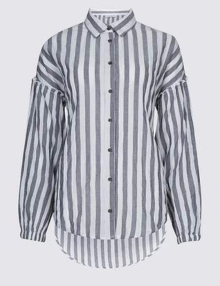 Marks and Spencer Cotton Rich Striped Longline Shirt