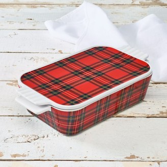 Unbranded Highland Collection Plaid Casserole Baking Dish With Lid, Red Plaid, Walmart Exclusive