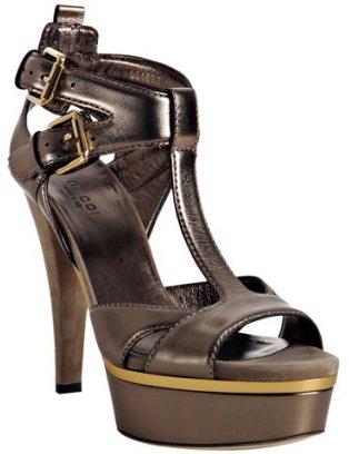Gucci gunmetal leather 'Iman' platform sandals