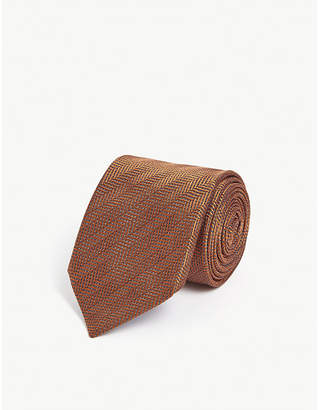 Eton Herringbone print silk tie