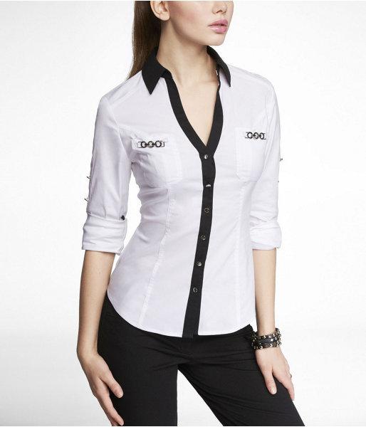 Express Convertible Sleeve Chain Hardware Essential Shirt