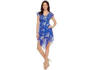 Jessica Simpson Printed Ruffle Dress with Asymmetrical Hem JS7A9387 Women's Dress
