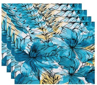 Simply Daisy, 18 x 14 inch, Zentangle, Floral Print Placemat (Set of 4), Teal