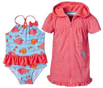 Wippette Baby Girl Swim Cover-up & Fish Print One Piece Ruffle Tutu Swimsuit, 2pc Set