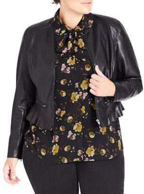 City Chic Plus Frilled Faux Leather Rider Jacket