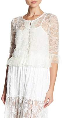 ABS by Allen Schwartz Mixed Lace Blouse