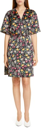 HUGO Kabela Floral Satin V-Neck Dress