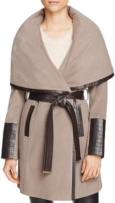Via Spiga Belted Faux Leather Trim Coat