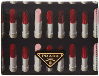 Prada Black Saffiano Lipstick French Wallet