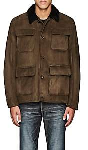 Barneys New York MEN'S PATRICK SUEDE & SHEARLING JACKET-OLIVE SIZE M