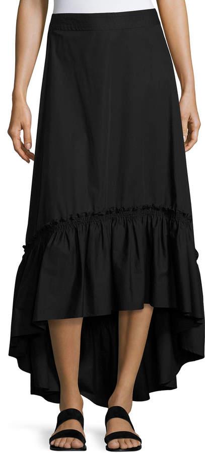 Trina Turk Rosamund Shirred High-Low Maxi Skirt, Black