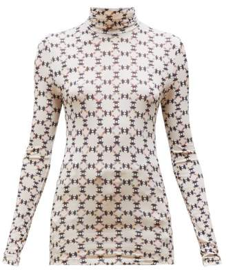 Isabel Marant Joyela Printed Roll Neck Jersey Top - Womens - Ivory Multi