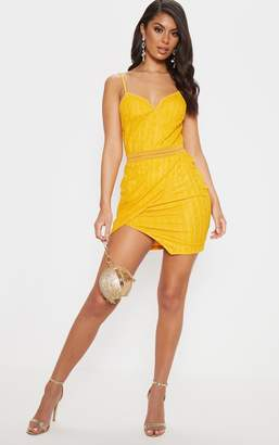 PrettyLittleThing Yellow Lace Wrap V Cut Bodycon Dress