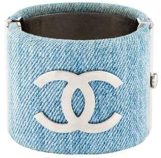 Chanel CC Denim Cuff Bracelet