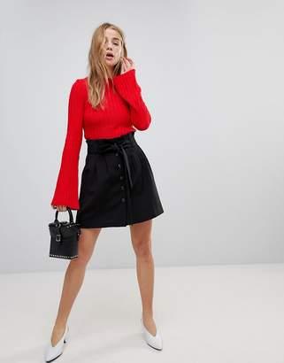 Asos Tailored Paper Bag Waist Mini Skirt