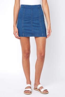 Free People Modern Femme Dark Denim Mini Skirt