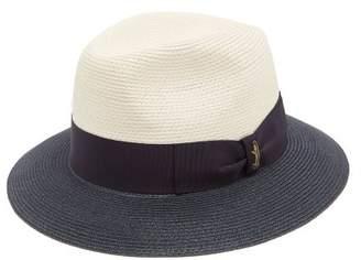 Borsalino Bi Colour Bow Embellished Panama Hat - Mens - Navy Multi