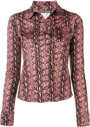 ALEXACHUNG Alexa Chung snakeskin print lace-up shirt