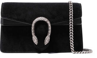 Gucci Dionysus Super Mini Suede And Leather Shoulder Bag - Black