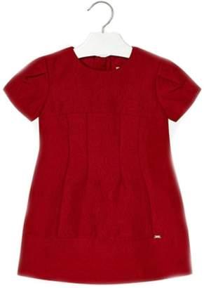 Mayoral Garnet-Red-Jacquard-Textured Dress