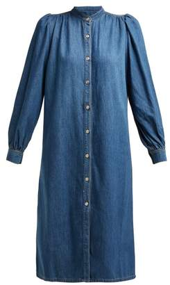 Ganni Kress Long Sleeved Cotton Shirtdress - Womens - Denim