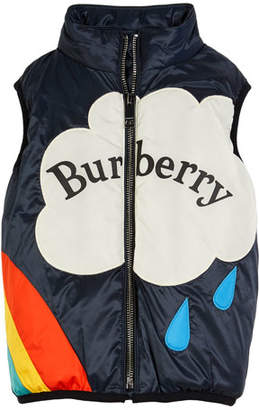 Burberry Rene Waterproof Rainbow Fleece-Lined Down Vest, Size 4-14