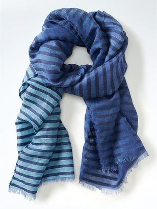 Metallic Stripe Linen-Blend Scarf $58 thestylecure.com