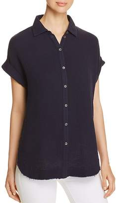 Three Dots Double Gauze Button-Down Top