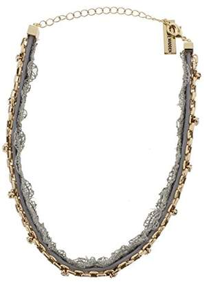 Steve Madden Grey Lace/Leather/Chain Choker Necklace