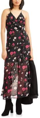 No Boundaries Juniors' Faux Wrap Maxi Dress with Ruffle