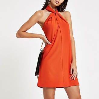 River Island Womens Dark Orange wrap neck mini swing dress