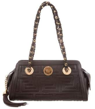 Versace Embossed Leather Shoulder Bag Brown Embossed Leather Shoulder Bag