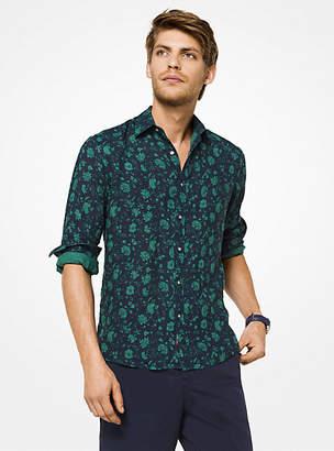 Michael Kors Slim-Fit Floral Linen Shirt