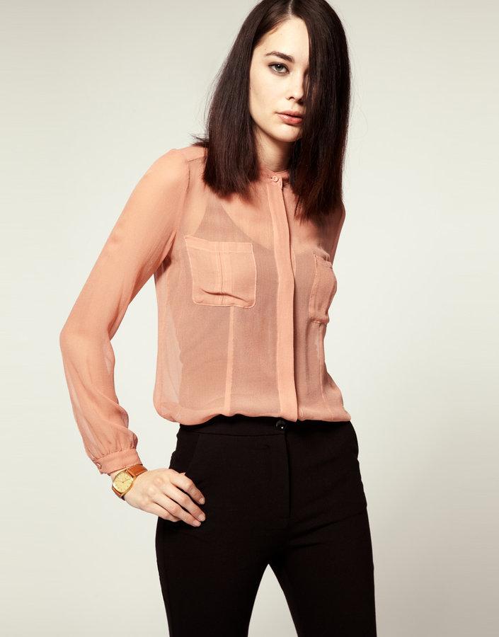 Mardi Jeudi Sheer Silk Chiffon Shirt
