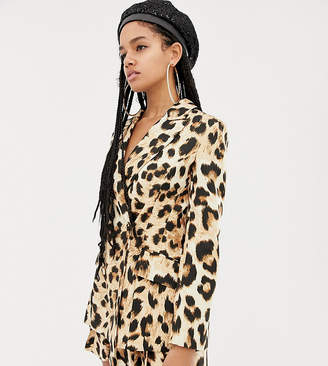 Asos Design DESIGN x LaQuan Smith double breasted blazer in leopard print