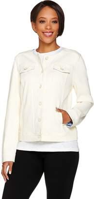 Isaac Mizrahi Live! Knit Denim Jacket w/ Printed Trim