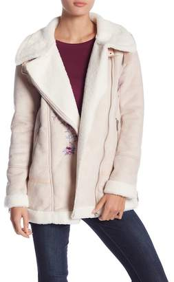 Romeo & Juliet Couture Embroidered Faux Suede Faux Fur Jacket