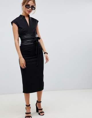 Asos DESIGN pencil midi dress with faux leather obi belt