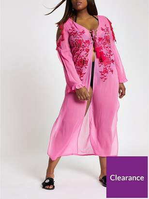 River Island RI Plus Lace Up Detail Maxi Beach Dress - Pink