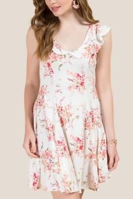 francesca's Delphine Ruffle Floral A-Line Dress - White