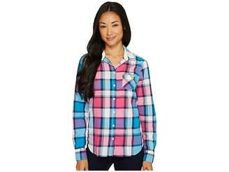 U.S. Polo Assn. Plaid Poplin Single Pocket Woven Shirt Women's Long Sleeve Button Up