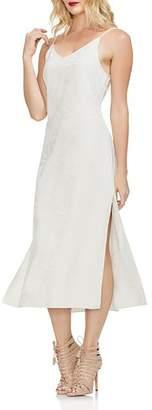 Vince Camuto Leaf Jacquard Midi Slip Dress