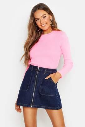 155c3ac17 Zip Front Denim Skirt - ShopStyle UK