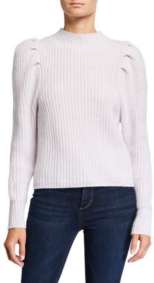 Autumn Cashmere Puff-Sleeve Mock-Neck Cashmere Sweater
