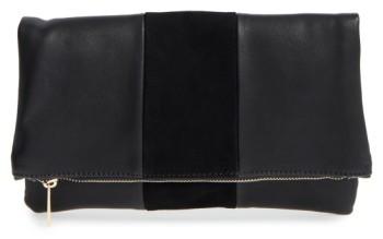 Bp. Tonal Stripe Foldover Clutch - Black