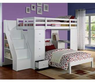 ACME Furniture ACME Freya Twin Bed with Mission Headboard in White Solid Wood