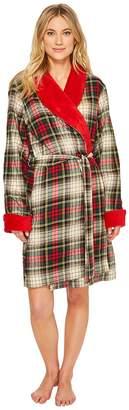 Lauren Ralph Lauren Short Shawl Collar Robe Lined with So Soft Fleece Women's Robe