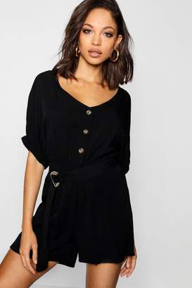 boohoo Button Belted Shorts Sleeve Playsuit