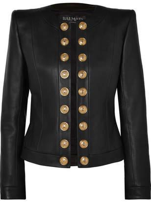 Balmain Button-embellished Collarless Leather Blazer