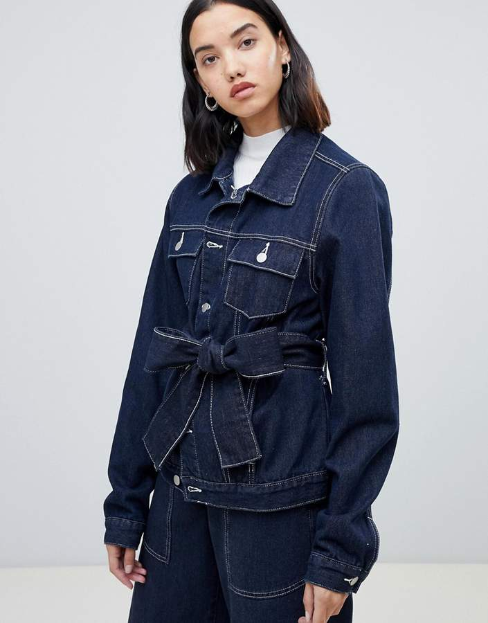 Fae FAE co-ord denim wrap jacket with contrast stitching